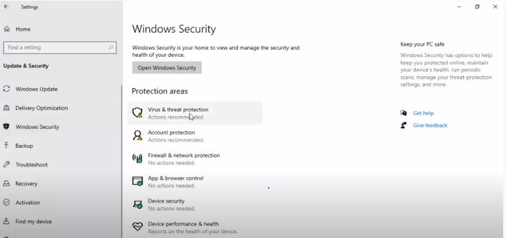 Go to Windows Security, Select Virus and Protection