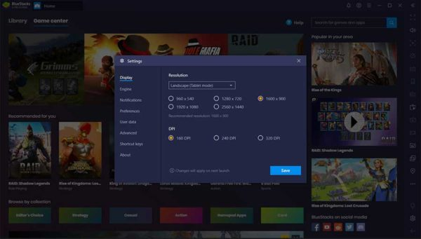 settings to make bluestacks faster
