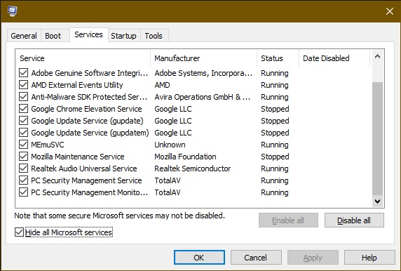 non-essential services showing in msconfig window