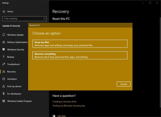 windows reset options to choose from