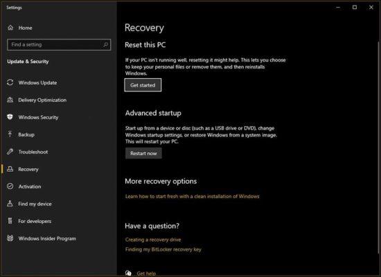 windows reset screen